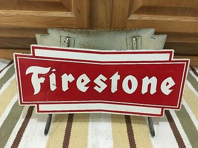 Vintage FIRESTONE Tire Stand 2 Signs Gas Oil Station Car Truck Display