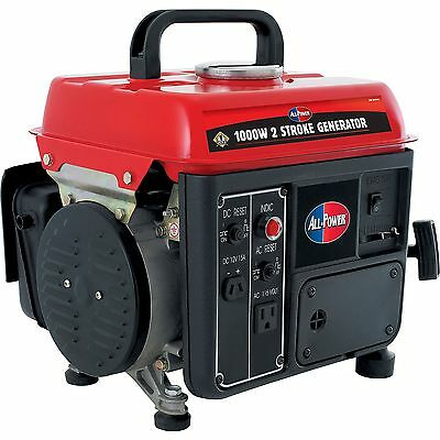 Small Gas Generator Mobile 1,000 Watt 2 Stroke Back Up Power Travel Camp Charger
