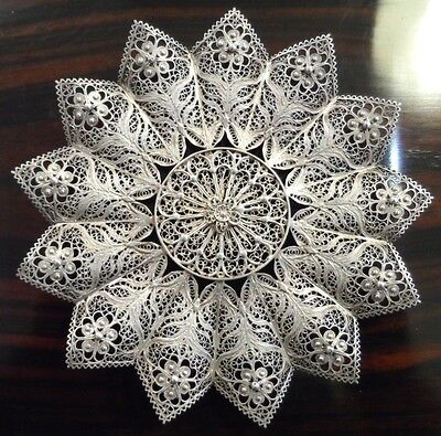 Filigree Dish Intricate Floral Sterling Silver 1900 --