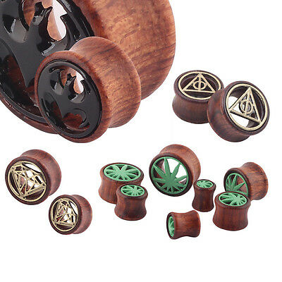 1 Pair Hollow Wood LOGO Mark Double Saddle Ear Plug Gauge Flesh Tunnel Stretcher