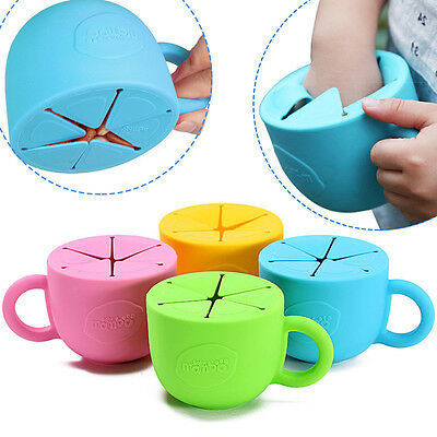 Silicone Food Cup Utensils Children Snack Spilled Cup Leak Proof Baby Snack Box^