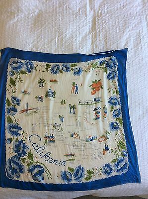 Vintage  60's ? Silk Scarf State California 30 Inch Square Signed HCC