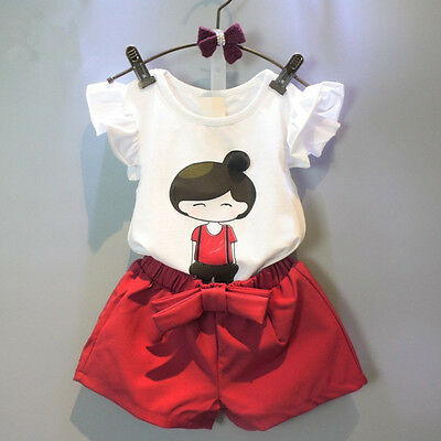 2PCS Toddler Kids Baby Girls Tops T-Shirt+Shorts Pants Party Outfits Clothes Set