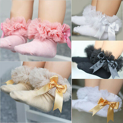 Newborn Baby Girls Kids Princess Bowknot Lace Ruffle Frilly Ankle Socks US STOCK