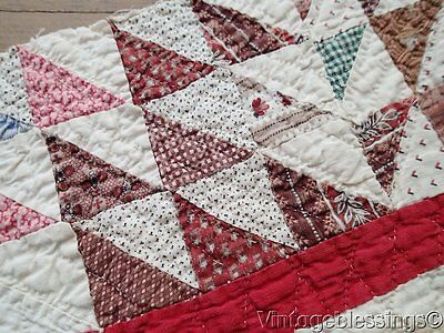 Antique c1870 Ocean Waves Quilt Cutter Piece BEST Fabrics