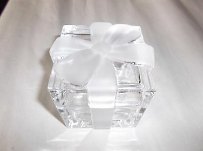 "Tiffany & Co. Crystal Frosted Bow Trinket / Jewelry Box, 3""x 3"" x 3.5"", VGUC"