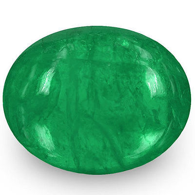 1.32-Carat Oval Cabochon-Cut Natural Deep Green Emerald from Zambia