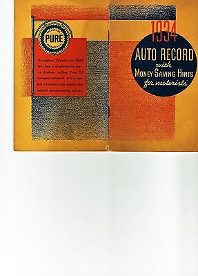 Vintage 1934 Pure Oil Company Advertising Gasoline Booklet of Auto Maintenance
