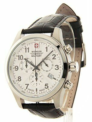 Wenger Swiss Military Field Dark Brown Leather Chronograph Date Men's Watch 7901