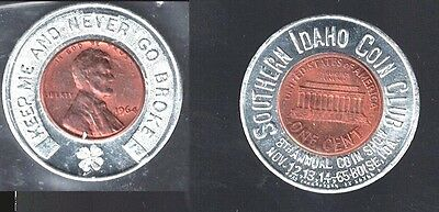 1965 - Cased 1964 Cent -- Southern  Idaho Coin Club Coin Show ------------ Look