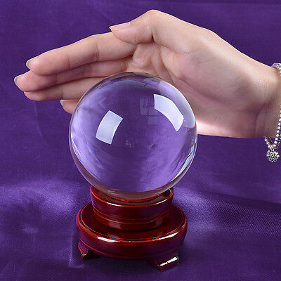 80mm Magic Healing Clear Crystal Ball Glass Ball Sphere Wooden Stand Gift Box