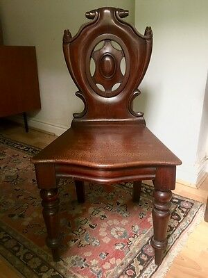 Superb Antique Mahogany Hall Chair -Scroll Carvings