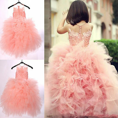 Flower Girls Princess Dress Kids Pageant Party Dance Wedding Birthday Ball Gown@