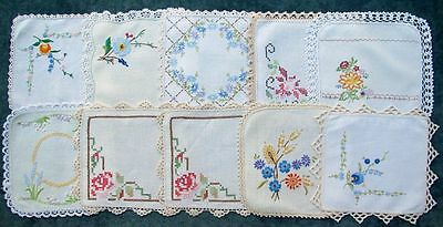 PRETTY VINTAGE HAND EMBROIDERED  SMALL SQUARE LINEN DOILIES x 10
