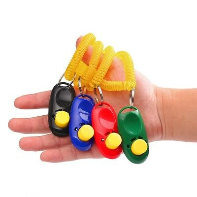 Hot Click Clicker Obedience Training Trainer Aid Wrist Strap for Puppy Dog Pet