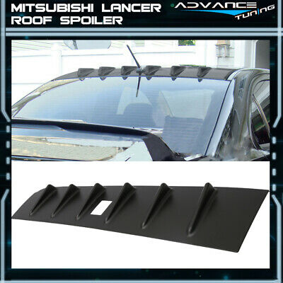 For 08-12 Mitsubishi Lancer Roof Spoiler Wing Unpainted Black - ABS