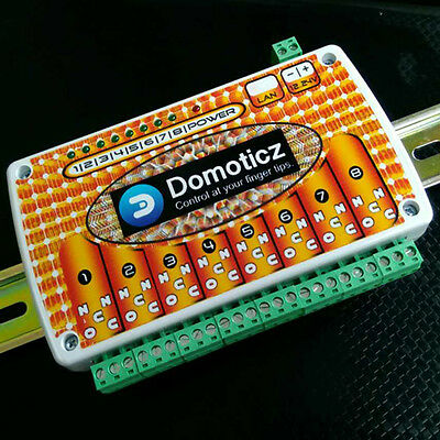 DOMOTICZ LAN Ethernet 8 channels WEB Relay board with clips for DIN mount rail