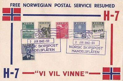 Norway 1943 Paper printed label H-7 Naval cachet and set of adhs.{Below}
