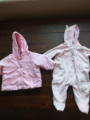 Baby Girls Coat And Snowsuit - 0-3 Months