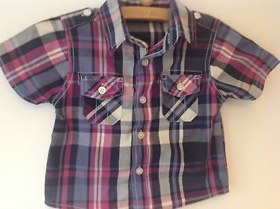 George Boy's Purple Checked Short Sleeve Shirt 9-12 Months Excellent Condition