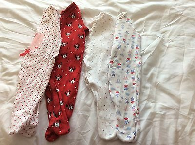 Baby Girls baby Grows X4   Age 0-3 Months
