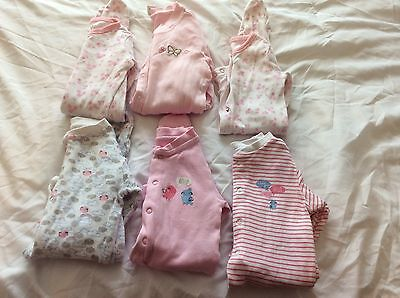 Baby Girls Baby Grows X6    Age 0-3 Months