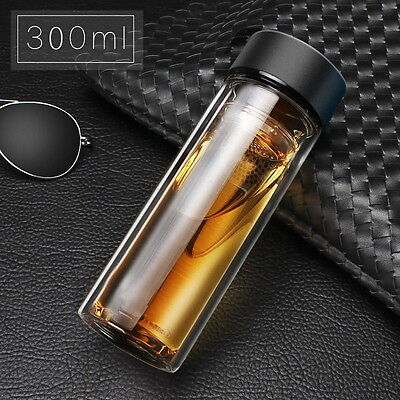 Glass Stainless Steel Double Layers Vacuum Thermos Coffee Travel Mug Drink Cup E