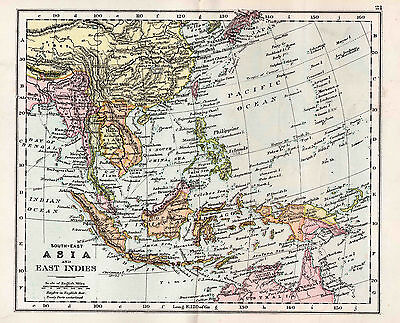 Map Of South East Asia and East Indies Antique Original Printed 1880s