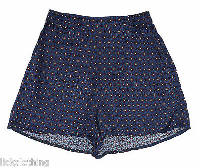Ladies Size 6 8 10 New Shorts Print Hotpants Back Elastic Waist Pockets *LICK*