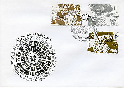 Belarus 2012 FDC London Olympic Games 3v Cover Tennis Swimming Olympics Stamps