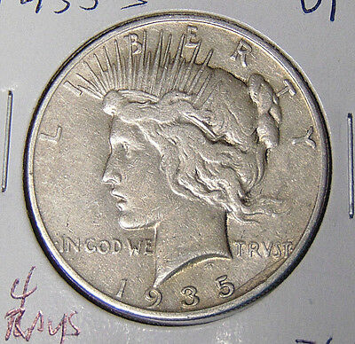 1935-S Peace Silver Dollar VF San Francisco Mint 4 Rays Variety (sd09)
