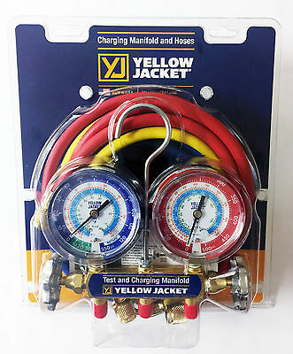 """Yellow Jacket 42006 - Series 41 Manifold, 3-1/8"""" Gauges w/Hoses, R22/134A/404A"""