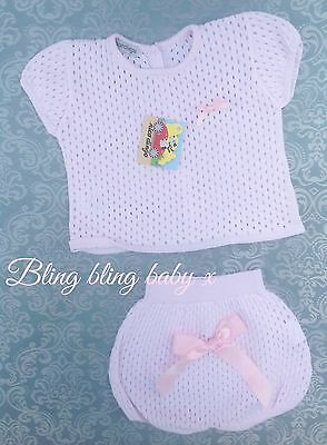 Baby Girls Spanish Traditional Knitted Outfit Set Romper 3-6 Months Romany