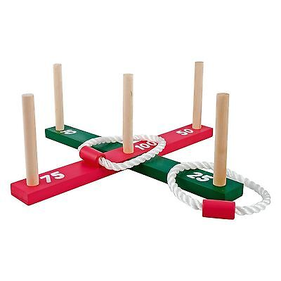 Wooden Garden Outdoor Quoits Game Pegs & Rope Hoopla Family Kids Game