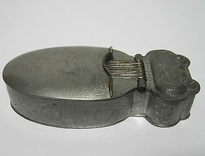 Antique CHINESE 19TH CENTURY SIGNED PEWTER COSMETIC BOX MIRROR
