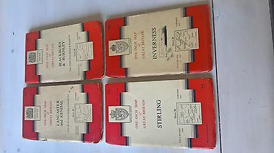 Collection of 4 Vintage Cloth Ordnance Survey Maps - New Popular Editions