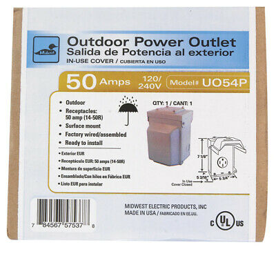 GE  50 amps 240 volt Single  Silver  RV Power Outlet  1 pk