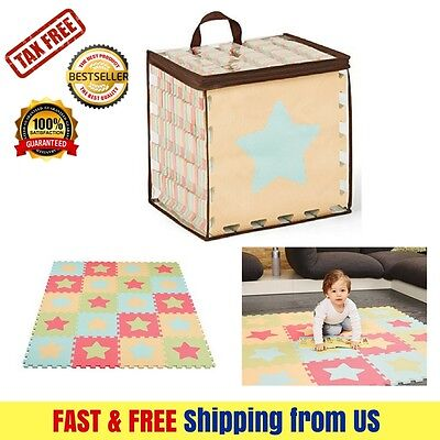 Baby Play Mat Extra Thick Non-Toxic Kids Safety Durable & Easy Clean Pastel Star