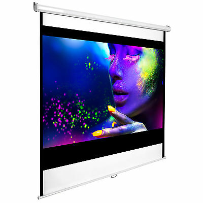 "New 110"" HD Projection Screen 203x203 Home Cinema 4:3 Pull Down Projector 16:9"