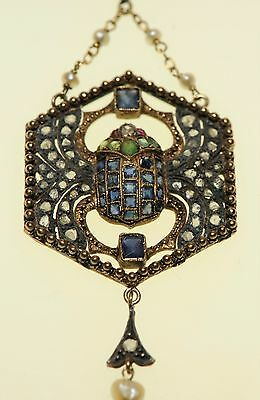 Egyptian Revival, Scarab Pendant Diamond,Sapphire,Emerald,Ruby,Pearl, 14k