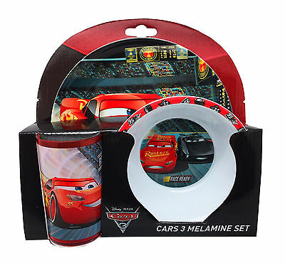 Disney Cars 3 Lightning McQueen 3pc Melamine Tumbler, Bowl & Plate Mealtime Set