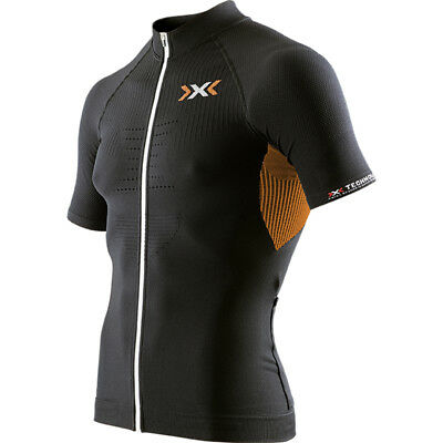 Maglietta ciclismo xbionic t-shirt The Trick Biking Black/Orange Zip O100044