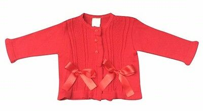 Pretty Originals red knitted bow cardigan 18 months