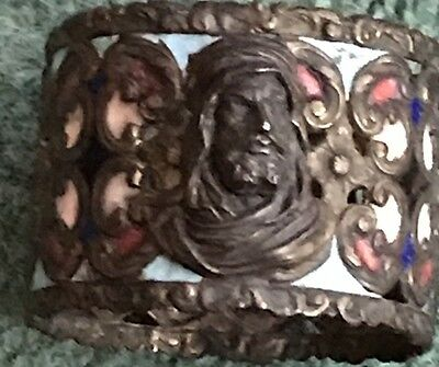 Antique Bronze And Enamel Figural Napkin Ring