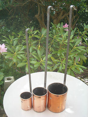 Vintage Set of Copper Measuring Cups / Ladles with Iron Handles