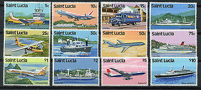 Santa Lucía Stamps, Transport $ Local Motives, Aviones, Barcos, 1980