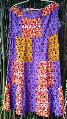 tribal african wax print sleeveless cotton dress XL 2XL handmade patchwork batik