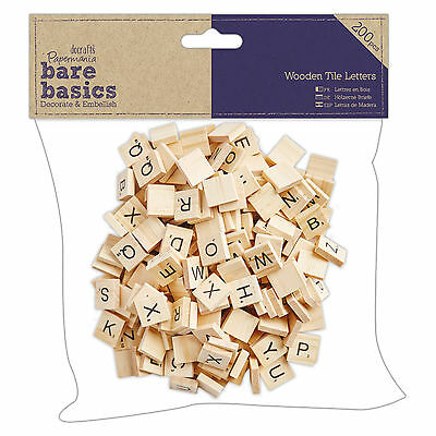 WOODEN TILE LETTERS (Jumbo Pack of 200) - DoCrafts Bare Basics Collection