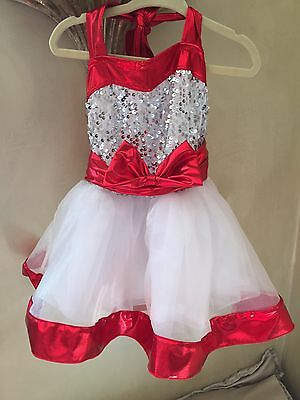 Girls costume ballet pointe jazz Tap dance competition pageant Xs Red Dress up