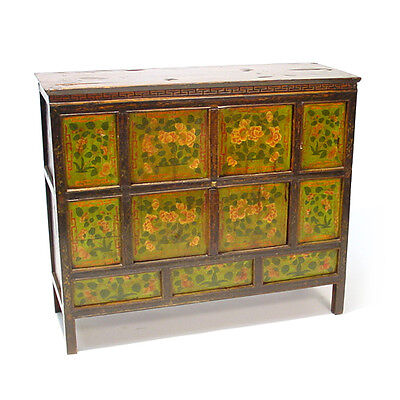 TIBETAN CABINET Painted Chest Asian Furniture circa 1900 48x17x40